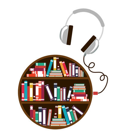 digital library: Ebook and headphone icon. Download elearning reading and electronic theme. Isolated design. Vector illustration Illustration