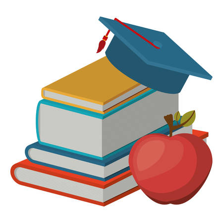Book and apple icon. Education literature read and library theme. Isolated design. Vector illustration