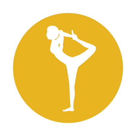 Girl practice stretch icon. Fitness person sport health and balance theme. Isolated design. Vector illustration