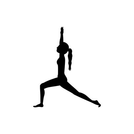 stretch: Girl practice stretch icon. Fitness person sport health and balance theme. Isolated design. Vector illustration