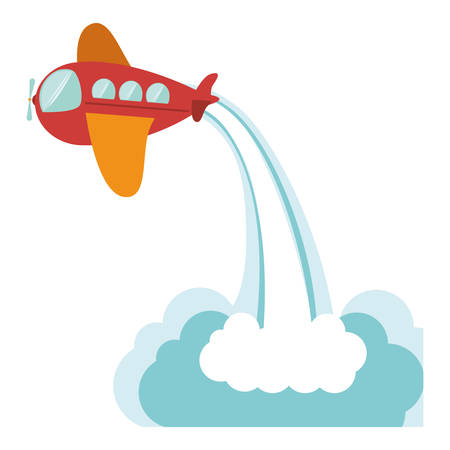 Toy airplane icon. Childhood play fun cartoon and game theme. Isolated design. Vector illustration