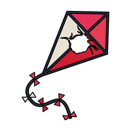 Broken kite toy icon. Game season wind fun sky theme. Isolated design. Vector illustration