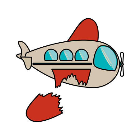 Toy airplane damaged icon. Childhood play fun cartoon and game theme. Isolated design. Vector illustration