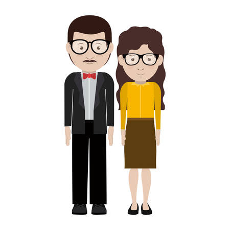 Man and woman cartoon with glasses icon. Couple relationship and love theme. Isolated design. Vector illustration Illustration