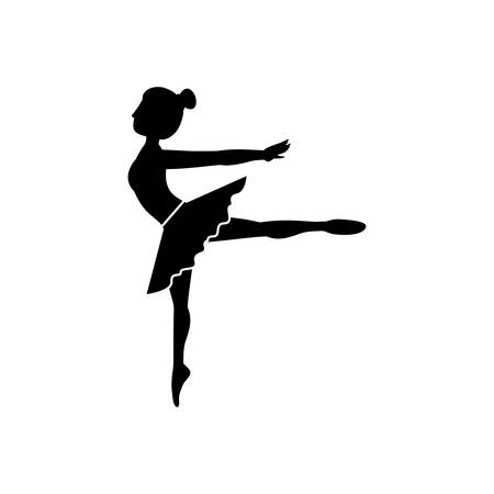 Girl practice ballet icon. Dancer sport person health and balance theme. Isolated design. Vector illustration