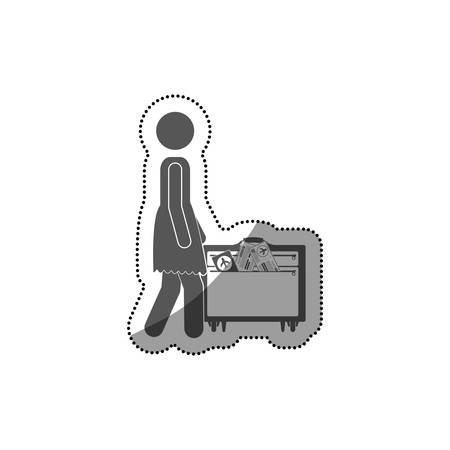 recreational: Pictogram passenger and baggage icon. Airport travel trip and tourism theme. Isolated design. Vector illustration