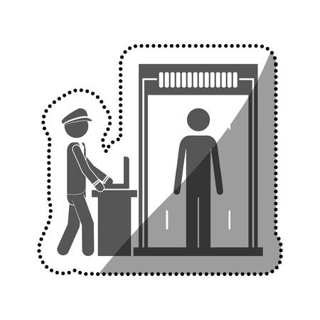 checkpoint: Passenger and security checkpoint icon. Airport travel trip and tourism theme. Isolated design. Vector illustration Illustration