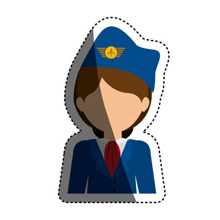 recreational: Stewardess icon. Airport travel trip and tourism theme. Isolated design. Vector illustration