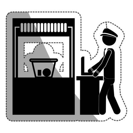 checkpoint: Security checkpoint icon. Airport travel trip and tourism theme. Isolated design. Vector illustration