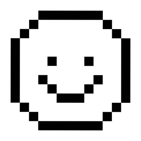 emotion expression: Pixel happy face icon. Cartoon character emotion and expression theme. Isolated design. Vector illustration