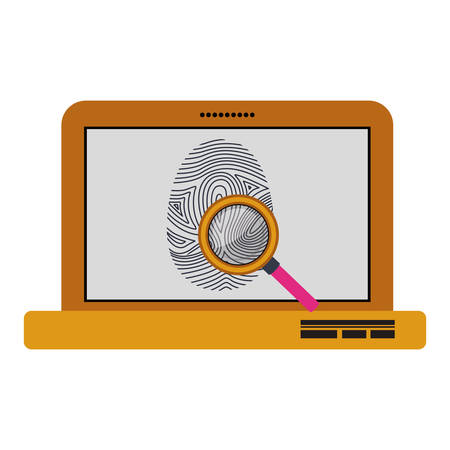 fingermark: Fingerprint and laptop icon. Identity security print and privacy theme. Isolated design. Vector illustration