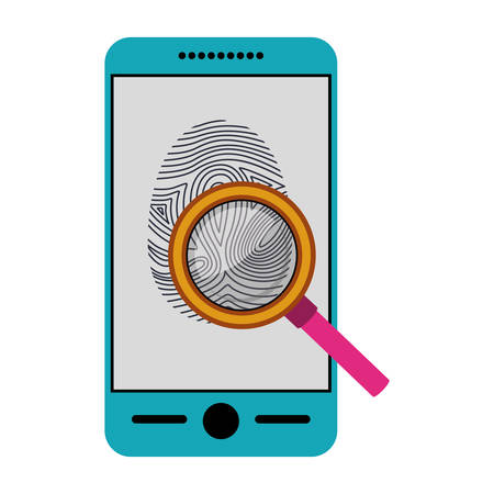 Fingerprint and smartphone icon. Identity security print and privacy theme. Isolated design. Vector illustration Illustration