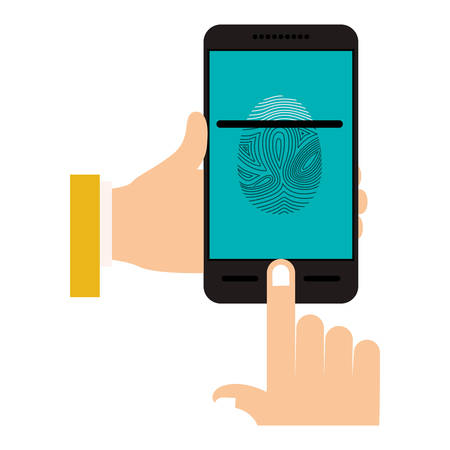 fingermark: Fingerprint and smartphone icon. Identity security print and privacy theme. Isolated design. Vector illustration Illustration