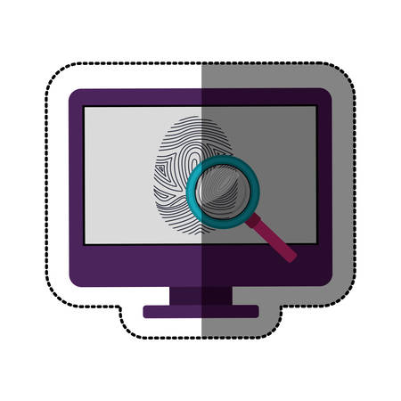 fingermark: Fingerprint and computer icon. Identity security print and privacy theme. Isolated design. Vector illustration Illustration