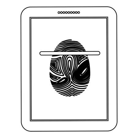 fingermark: Fingerprint and tablet icon. Identity security print and privacy theme. Isolated design. Vector illustration Illustration