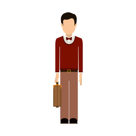 buisiness: Man and suitcase icon. Male avatar person people and human theme. Isolated design. Vector illustration