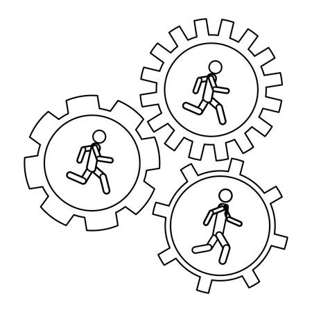 workforce: Gear and businessperson icon. Teamwork people corporate and workforce theme. Isolated design. Vector illustration