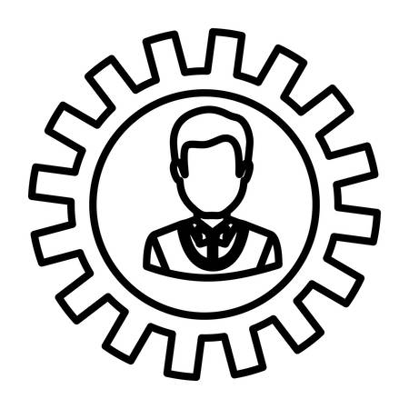 workforce: Gear and businessman icon. Teamwork people corporate and workforce theme. Isolated design. Vector illustration