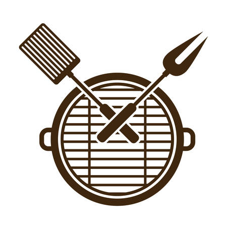 Grill and tools icon. Bbq menu steak house food and meal theme. Isolated design. Vector illustration Illustration