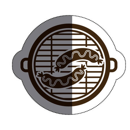 frankfurter: Grill and sausage icon. Bbq menu steak house food and meal theme. Isolated design. Vector illustration