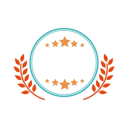 star product: label wreath and star icon. Banner product decoration and emblem theme. Isolated design. Vector illustration