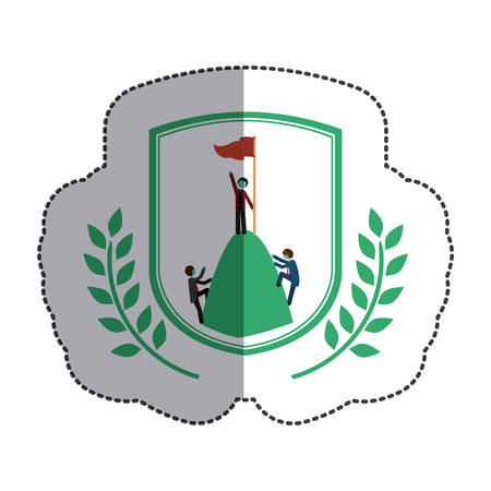 competitor: Winner inside label icon. Competition success sport and challenge theme. Isolated design. Vector illustration