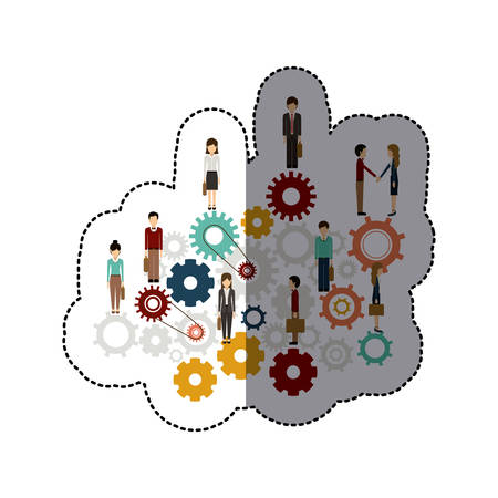 workforce: Gear and businesspeople icon. Teamwork people corporate and workforce theme. Isolated design. Vector illustration