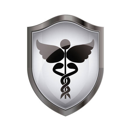 injure: Caduceus icon. Medical health care hospital and emergency theme. Isolated design. Vector illustration