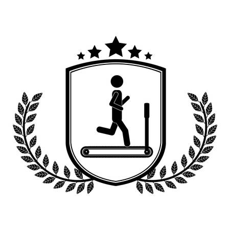 Man doing excercise icon. Healthy lifestyle fitness gym and bodybuilding theme. Isolated design. Vector illustration Illustration