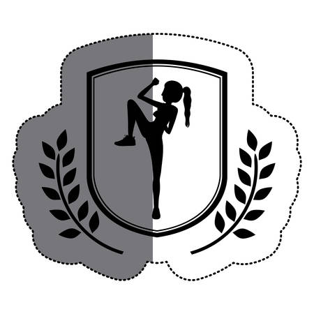 Girl doing excercise icon. Healthy lifestyle fitness gym and bodybuilding theme. Isolated design. Vector illustration