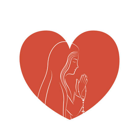 worshipping: Mary inside heart icon. Religion faith pray and belief theme. Isolated design. Vector illustration