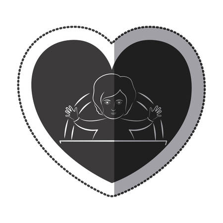 worshipping: Jesus inside heart icon. Religion faith pray and belief theme. Isolated design. Vector illustration