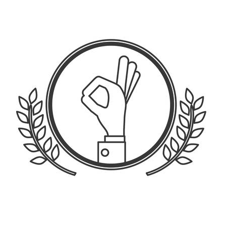 positive energy: Postive hand inside label icon. Happiness positivity attitude and optimisn theme. Isolated design. Vector illustration