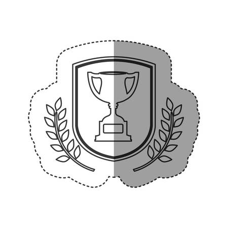 Trophy inside label icon. Competition success sport and challenge theme. Isolated design. Vector illustration Illustration