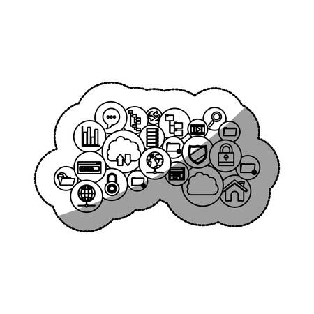 digital illustration: Cloud computing and media icon set. Multimedia storage and technology theme. Isolated design. Vector illustration