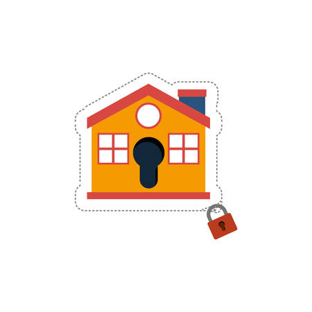 House and padlock icon. Insurance security protection and safety theme. Isolated design. Vector illustration Illustration