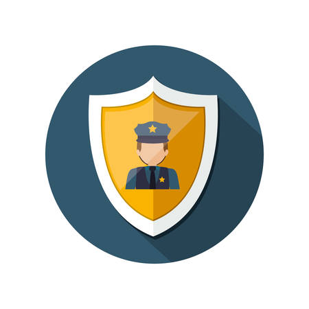 courtroom: Policeman icon. Law justice legal judgment and crime theme. Isolated design. Vector illustration