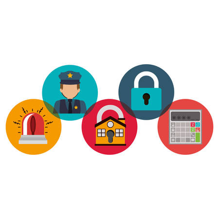 House policeman alarm and padlock icon. Insurance security protection and safety theme. Isolated design. Vector illustration