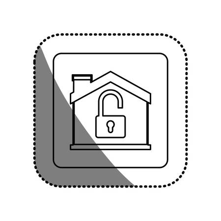 safeguards: House and padlock icon. Insurance security protection and safety theme. Isolated design. Vector illustration Illustration