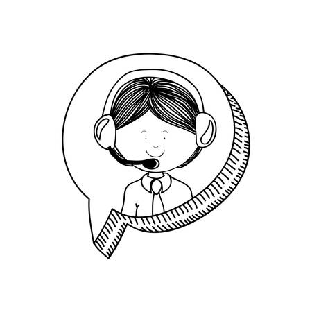Man operator icon. Call center technical service online and support theme. Isolated design. Vector illustration