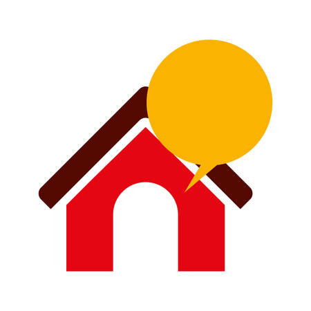 house exchange: Bubble and house icon. Communication message discussion and conversation theme. Isolated design. Vector illustration