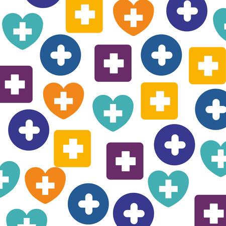 heath: Cross shape icon. Medical heath care and hospital theme. Isolated design. Vector illustration Illustration