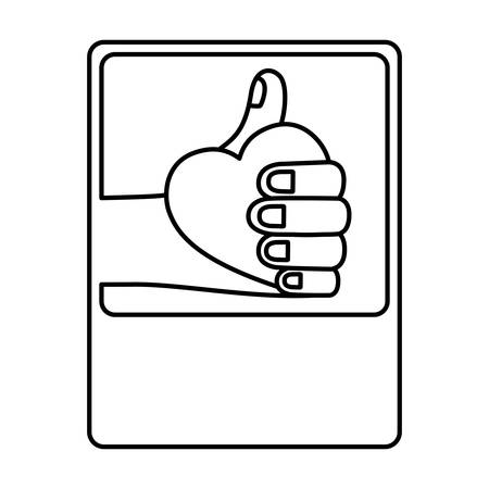heart icon: Human hand holding heart icon. Finger gesture palm and communication theme. Isolated design. Vector illustration
