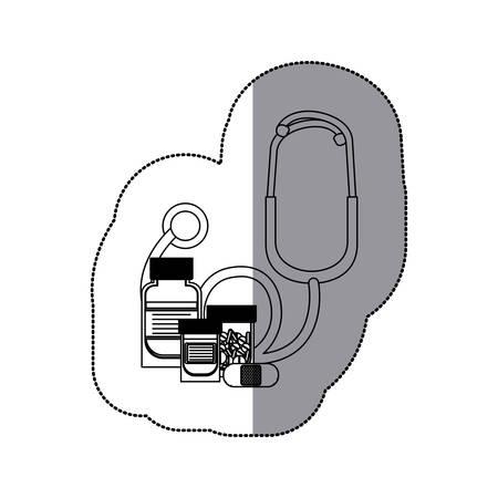 heath: Stethoscope and medicine icon. Medical heath care and hospital theme. Isolated design. Vector illustration Illustration