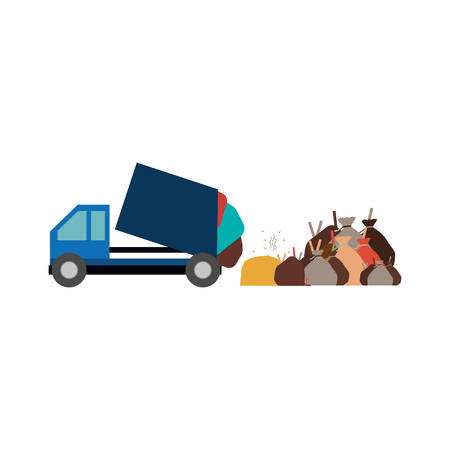 camion de basura: icono de camión de la basura. Ecología Guardar tema del medio ambiente y el cuidado. diseño aislado. ilustración vectorial