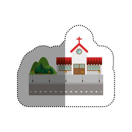 residential neighborhood: House church icon. Home real estate and building theme. Isolated design. Vector illustration Illustration