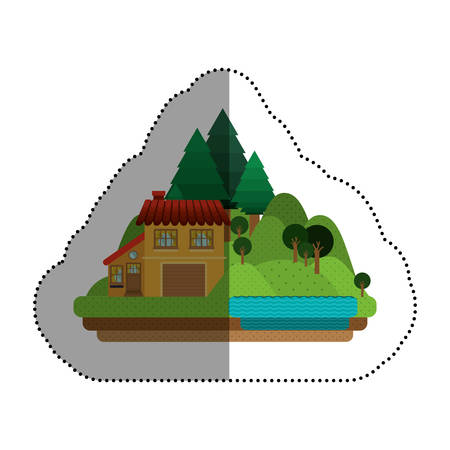 residential neighborhood: House icon. Home real estate and building theme. Isolated design. Vector illustration