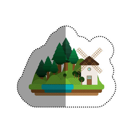 residential neighborhood: House mill icon. Home real estate and building theme. Isolated design. Vector illustration Illustration