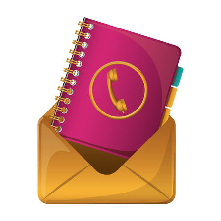 Envelope and agend icon. Email mail message letter and marketing theme. Isolated design. Vector illustration