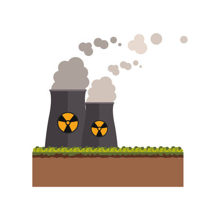 nuclear plant: Biohazard chimney icon. Nuclear plant power energy and pollution theme. Isolated design. Vector illustration